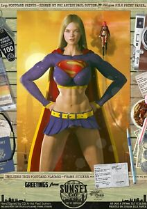 Supergirl-Sexy-039-Sunset-City-039-Comic-Hand-Signed-A3-Print-Superman-Smallville-DC
