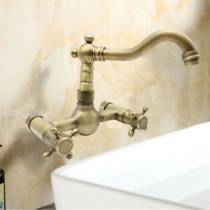 Image Is Loading Wall Mount Kitchen Faucet Antique Brass Dual Handle