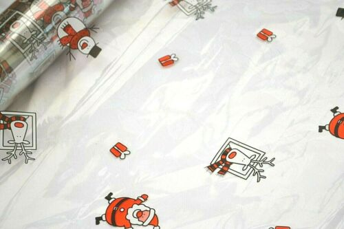 Choose length *m x 80cm Square Santa /& Rudolph Cellophane for gift wrapping