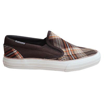 Converse Skid Grip EV Plaid Slip On Mens Trainers Canvas Shoes 100367 M4