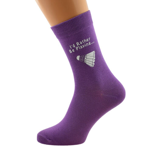I/'d Rather Be Playing Badminton with Shuttlcock Image Printed Ladies Purple Sock