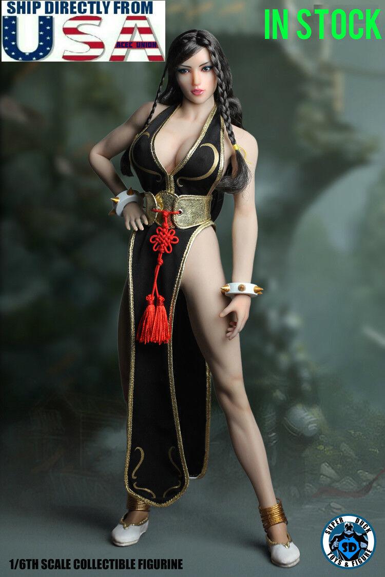 1 6 Street Fighter Chun-Li Head Sculpt Clothing PhICEN Kvinnlig Figur Set U.S.A.