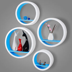 tag re murale ronde en bois mdf tag re cd dvd murale blanc bleu frg9231bl ebay. Black Bedroom Furniture Sets. Home Design Ideas