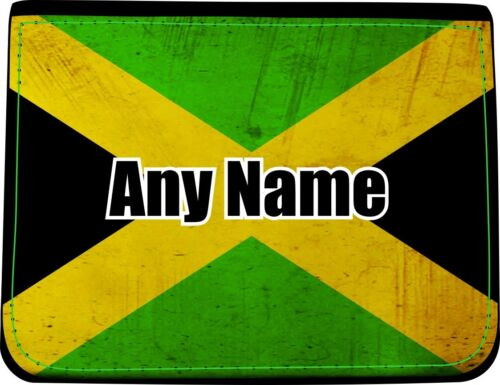 PERSONALISED JAMAICAN FLAG PRINT FAUX LEATHER MENS WALLET BIRTHDAY XMAS GIFT