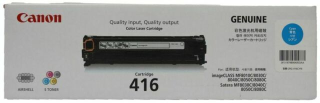 CANON CYAN 416 COLOR LASER CARTRIDGE GENUINE IMAGECLASS SATERA MF8030C MF8050C