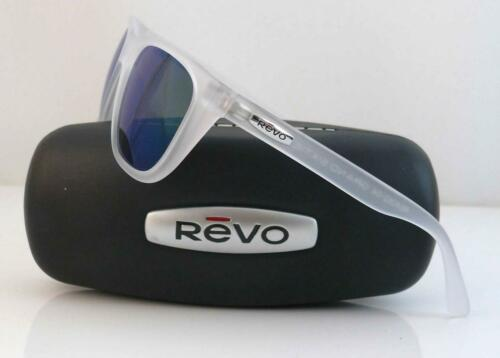 REVO POLARIZED SUNGLASSES GRAND SIXTIES FROST MATTE CLEAR FRAME COBALT LENS NEW