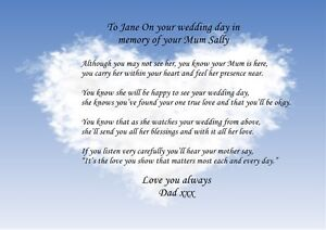 PERSONALISED POEM TO MY DAUGHTER ON YOUR WEDDING DAY IN MEMORY OF ...