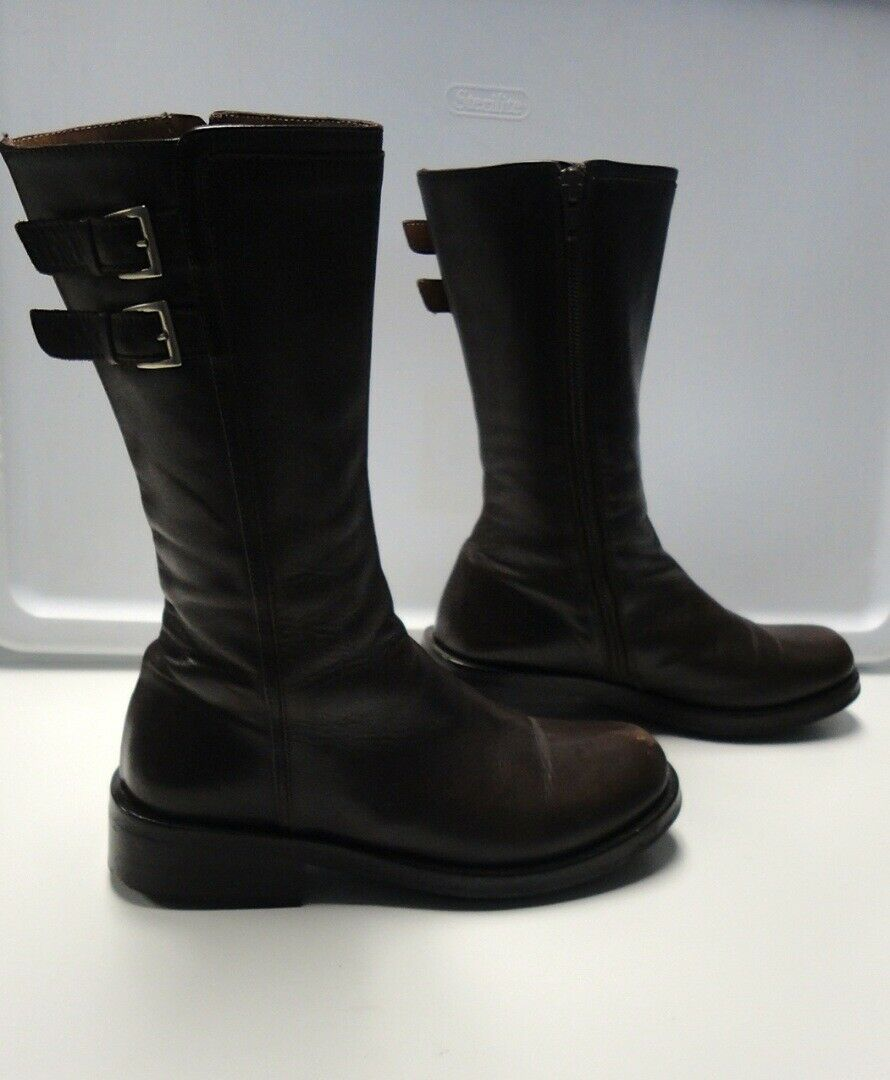 FRUIT Chocolate Brown Leather Casual Zip Up Round Toe Ankle Boots Size 35 B4886