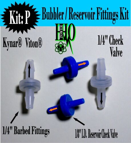 "1//4"" Kynar® Viton® /& 2 2 Blue or Clear Check Valves: HHO Bubbler// Reservoir"