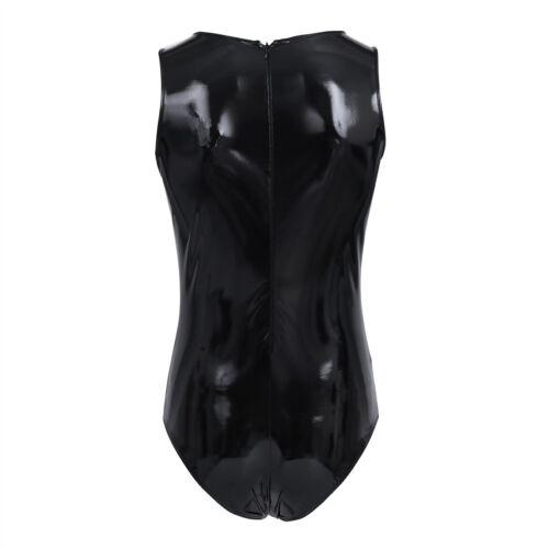 Latex Rubber Mens Lingerie Bodysuit Wetlook Sleeveless Swimsuit Leotard Catsuit