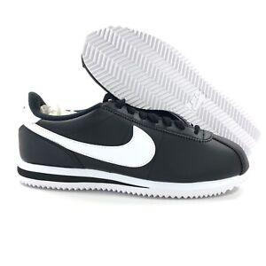 new concept 6b214 edfdb Image is loading Nike-Cortez-Basic-Leather-Black-White-Metallic-Silver-