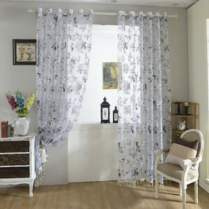 schlaufenschal gardinenschal dekoschal schwarz wei blumen fenster vorhang voile ebay. Black Bedroom Furniture Sets. Home Design Ideas