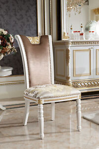 8-Chairs-Set-Dining-Room-Designer-Wood-E62-Antique-Style-Baroque-Rococo
