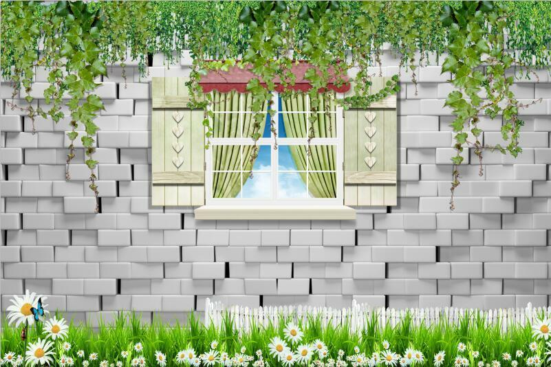 3D Green Flower Window View Wall Paper Print Decal Wall Deco Indoor wall Mural