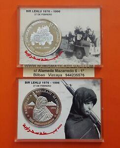 2-coins-5000-PESETAS-SAHARAUIS-1996-SILVER-WESTERN-SAHARA-1-OZ-Republica-PP-SET