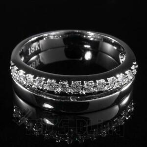 18K-White-Gold-Iced-Out-HipHop-MICROPAVE-Engagement-Band-CZ-Men-Women-Pinky-Ring