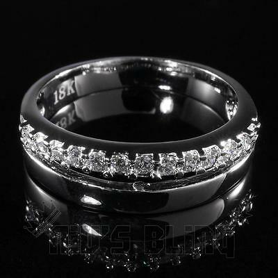 18K White Gold Iced Out HipHop MICROPAVE Engagement Band CZ Men Women Pinky Ring