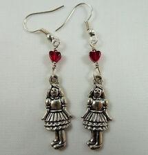 Alice in Wonderland Earrings, Handmade, Tibetan Silver, Little Girl, Red Heart