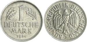 Frg 1 Mark 1954 D Lack Coinage Without Randschrift, VF, Wertseite Rollierspur