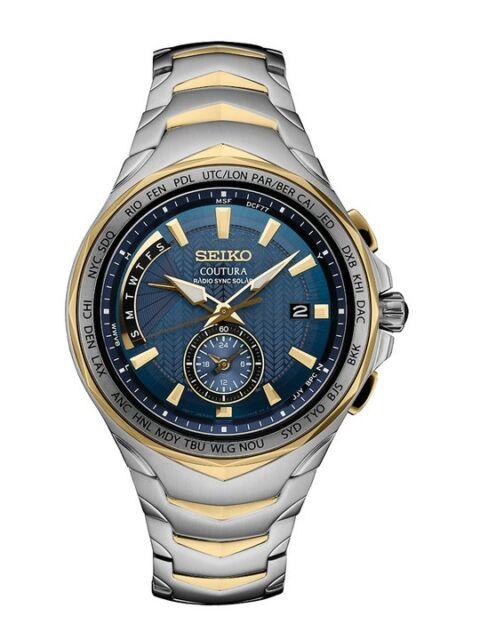 New Seiko Coutura Radio Sync Solar World Time Two Tone Steel Mens Watch SSG020