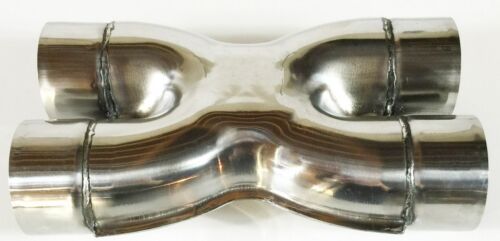"""Exhaust Stamped X Pipe 3.00/"""" Dia Dual Inlet to 3.00/"""" Dia Dual Outlets Polished S"""