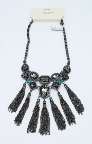 Stunning New Hematite Tone Fringe Rhinestone Statement Necklace by Punch #SN1