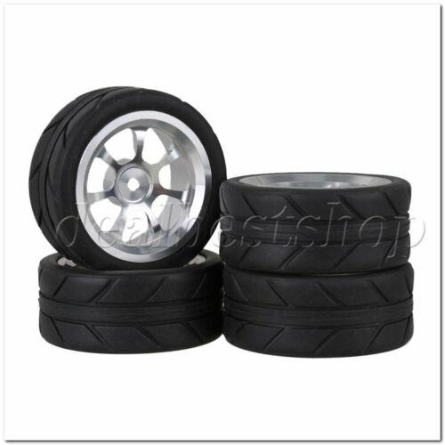RC1:10 On Road Car 7 Spoke Alloy Wheel Rim Silver /& Arrow Rubber Tires Set of 4