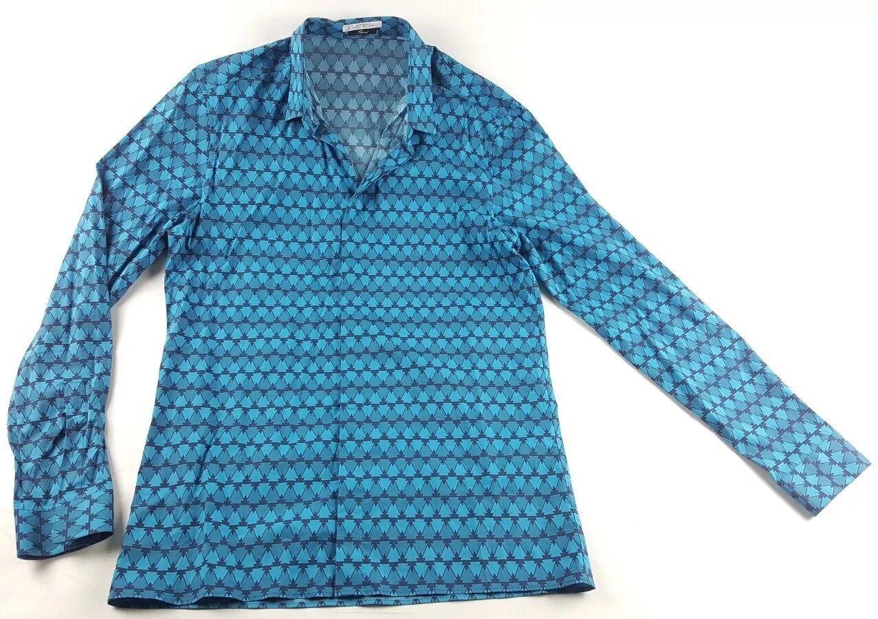 Versace  COLLECTION tendencia Ajustado Elastizado Azul Camisa impresos botón frontal para hombre 41 grandes  nuevo listado
