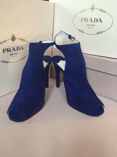 New PRADA Open Toe Pumps Blue Suede Heels Women's Shoes Size 36 6 Italy Made