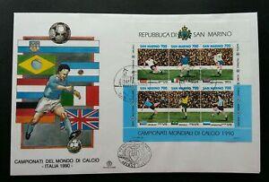 SJ-San-Marino-Football-1990-Italy-Sport-Games-Nation-Flag-miniature-FDC