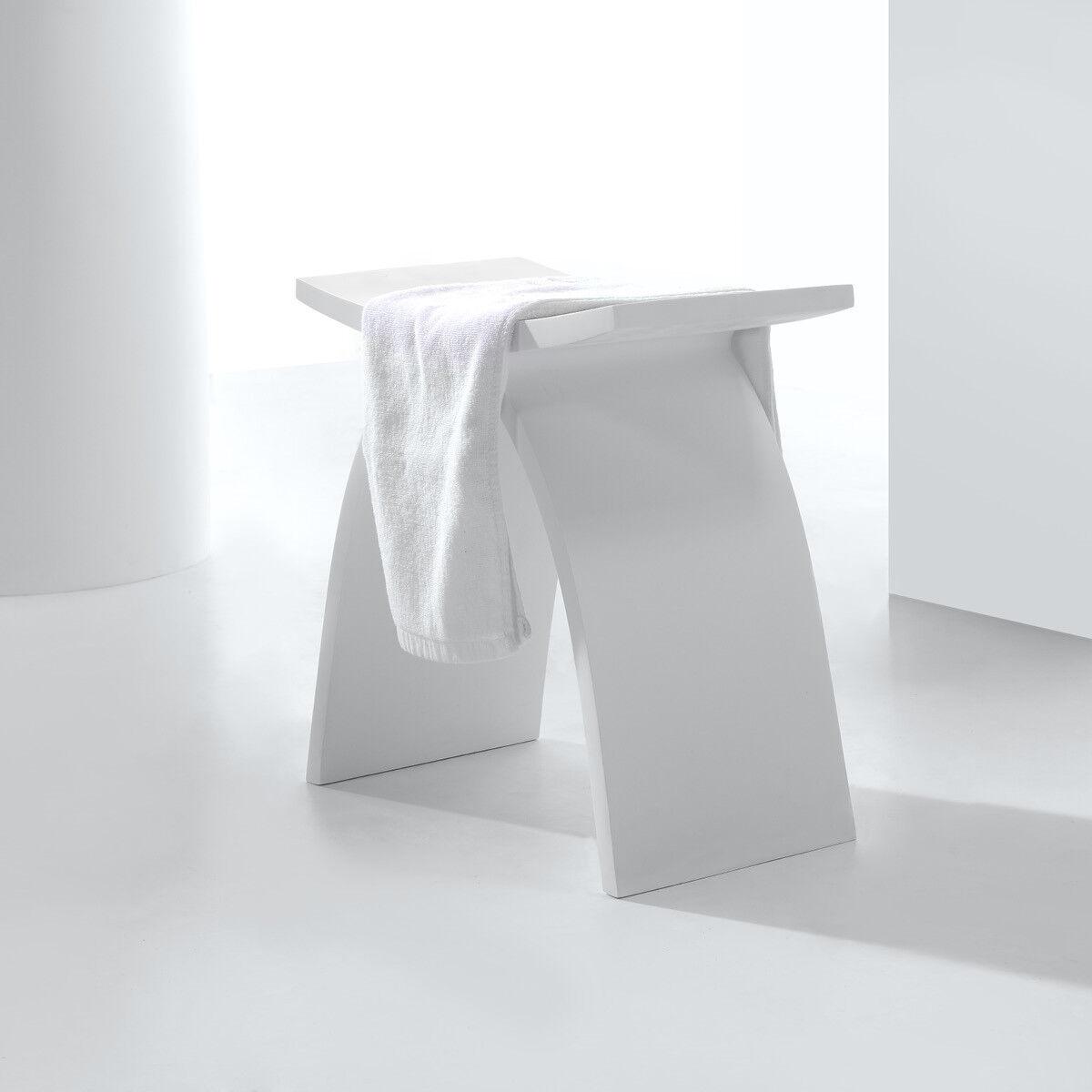 Design Badhocker aus Mineralguss freistehend Stuhl Hocker Badmöbel Duschstuhl