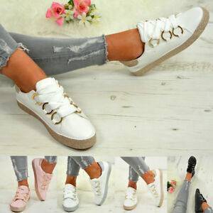LADIES-WOMENS-GLITTER-SNEAKERS-SPARKLE-TRAINERS-LACE-UP-PLIMSOLL-PUMPS-SHOES