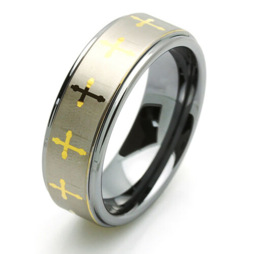 Men 8MM Comfort Fit Tungsten Carbide Wedding Band Gold Tone Celtic Cross Ring