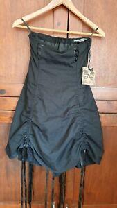 Spin-Doctor-corset-style-Sin-breteles-Vestido-Negro-Talla-XS