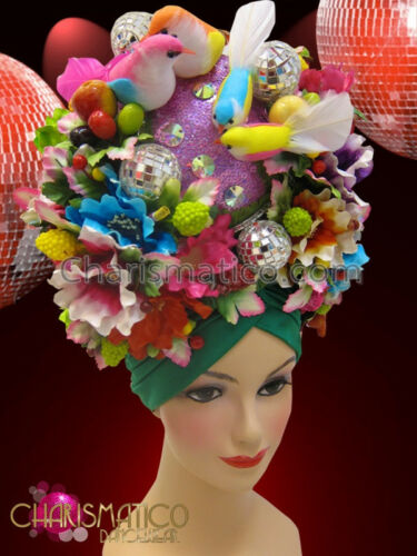 CHARISMATICO Exotic Latin Green turban based tropical floral headdress with bird