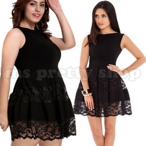 04647fc4401 Details about Womens Sleeveless A-Line Pleated Scallop Lace Little Black  Mini Skater Dress
