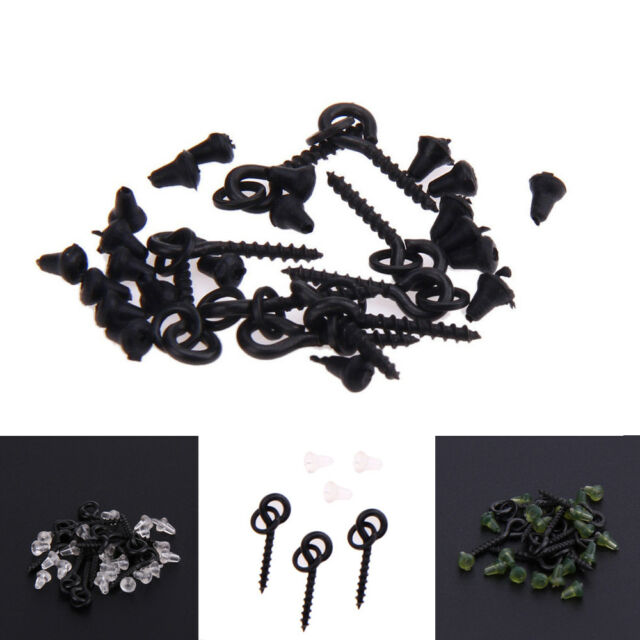 10 x Bait Screws With Oval Rings + 20 x Hook Stops Carp Fishing Tackle Chod Rig
