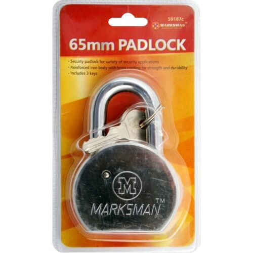 HARDENED SOLID STEEL 3 KEYS MAXIMUM SECURITY BRAND NEW HEAVY DUTY 65mm PADLOCK
