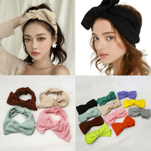 Ladies-Wide-Elastic-Headbands-Soft-Turban-Bow-Knitted-Hairbands-Hair-Accessories