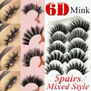 f63ae26c9c8 Image is loading 5-Pairs-Multipack-Mink-Hair-False-Eyelashes-Wispy-