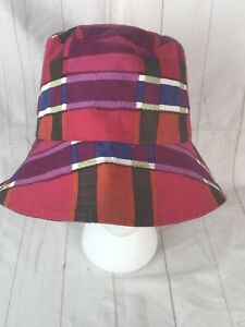 7471dc1b158 Banana Republic 100% Cotton Bucket Hat Pink Red Blue Plaid Sz S M