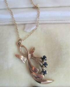 Pretty 9ct Oro Amarillo Azul Zafiro Colgante & Cadena Collar ley 375 9K