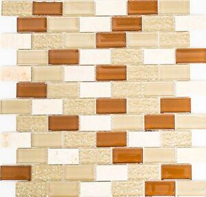 Das Bild Wird Geladen Glasmosaik Versetzt Naturstein Beige Wand Bad  Sauna Kueche