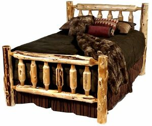 Image Is Loading KING SIZE Rustic Log Bed Log Furniture Rustic