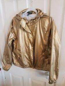 coupe doré état vent à Lauren Ralph métallisé doré capuche Manteau excellent wEfxp
