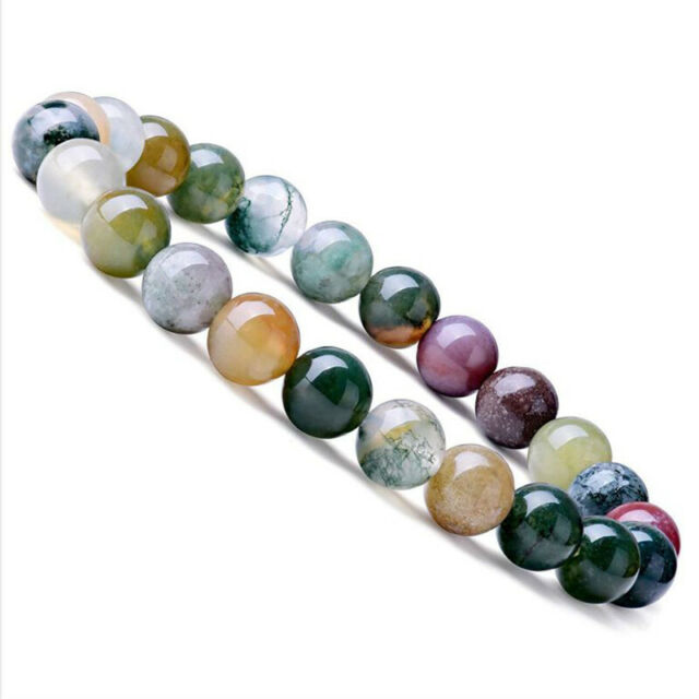 Natural Stone 8mm Agate Beads Bracelets Stretch Elastic Bangle Jewelry Gif IxIAC