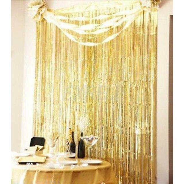 3' X 8' Party Metallic Fringe Foil Shimmer Curtain Birthday Decoration Gold WY