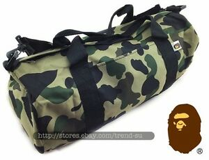 faf3e26746 A Bathing Ape Bape Camo Shoulder bag Handbag Cylinder Gym Travel ...