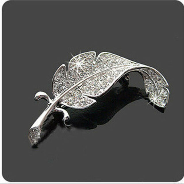 Fashion Delicate Crystal Brooches Silver Colored Feather Shape pin Hot