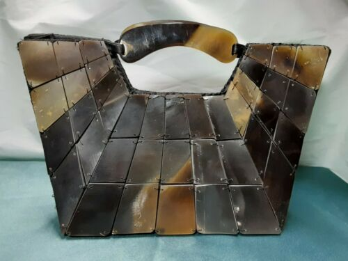 Rare Vintage Bull Horn tile Evening Handbag Purse